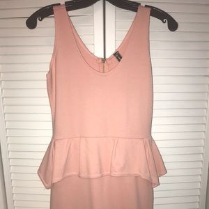 light pink peplum bodycon dress